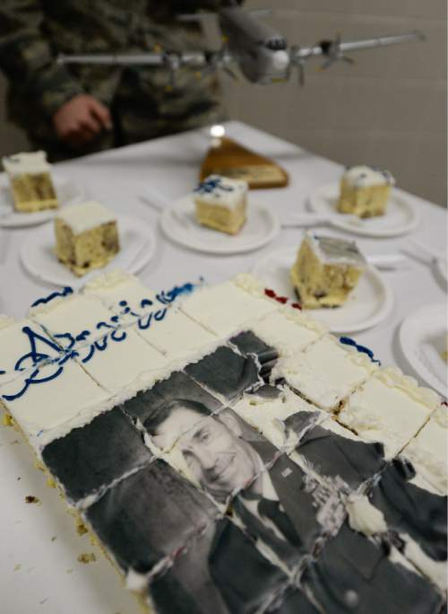 "Francisco Kjolseth  |  The Salt Lake Tribune Cake is served as the Utah Air National Guard Base east of SLC International is renamed for retired Brig. Gen. Roland Wright, who flew the ""Mormon Mustang"" during World War II."