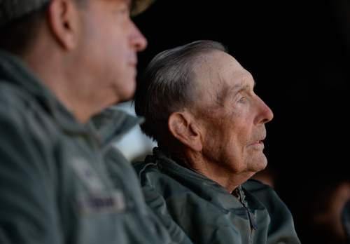 "Francisco Kjolseth  |  The Salt Lake Tribune General David Fountain, left, sits alongside Brig. Gen. Roland Wright, who flew the ""Mormon Mustang"" during World War II. The Utah Air National Guard Base east of SLC International was renamed for Wright, during a ceremony on Tuesday, Nov. 18, 2014."