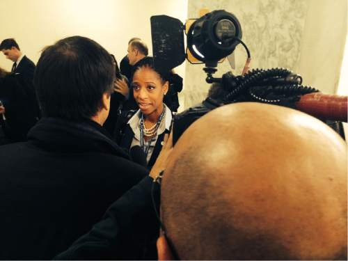 Thomas Burr  |  Tribune file photo  Rep.-elect Mia Love, R-Utah, stops to talk to a reporter from CBS News in the Rayburn House Office Building as she ventured out to pick an office suite two weeks after her election victory.