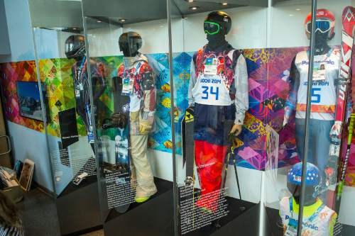 Chris Detrick  |  The Salt Lake Tribune Clothes worn during the Sochi Olympics by Utah athletes Steven Holcomb, Sage Kotsenburg, Joss Christensen and Danelle Umstead on display at the Alf Engen Ski Museum in Utah Olympic Park Wednesday November 19, 2014.