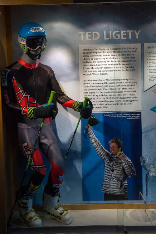 Chris Detrick  |  The Salt Lake Tribune Clothes worn during the Sochi Olympics by Utah athlete Ted Ligety on display at the Alf Engen Ski Museum in Utah Olympic Park Wednesday November 19, 2014.