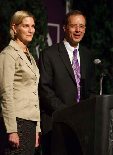 """Leah Hogsten     The Salt Lake Tribune Charles A. """"Chuck"""" Wight, with wife Victoria Rasmussen, was named as Weber State University's 12th president Monday by the Utah Board of Regents, Tuesday October 9, 2012. Wight has been serving as the University of Utah's associate vice president and dean of the graduate school. Wight replaces Ann Millner, who served as president for 10 years."""