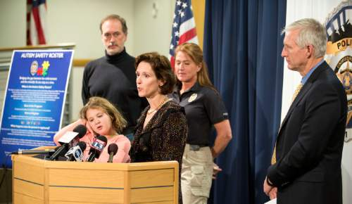 Lennie Mahler     The Salt Lake Tribune Montell McDowell, with her daughter, Megan, speaks to the media about the new Autism Safety Roster, which would inform police officers responding to a situation involving a person with autism.