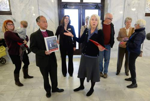 Francisco Kjolseth  |  The Salt Lake Tribune Members of the Gun Violence Prevention Center of Utah, MomsRising.org, and The Campaign to Keep Guns Off Campus speak with the press after delivering more than 20,000 signatures to Governor Gary Herbert's office at the Utah Capitol on Friday, Nov. 21, 2014, asking him to stand up for free speech and against campus gun laws that protect threats of violence against public speakers.