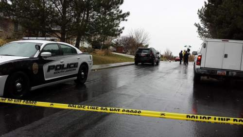 Michael McFall | The Salt Lake Tribune   The scene of a police shooting near 600 W. 11400 South in South Jordan on Sat. Nov. 22, 2014.
