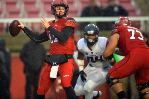 Chris Detrick     The Salt Lake Tribune Utah Utes quarterback Conner Manning (17) looks to pass the ball during the game at Rice-Eccles Stadium Saturday November 22, 2014. Arizona Wildcats defeated Utah Utes 42-10.