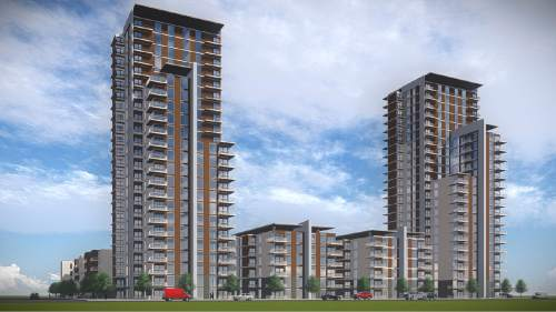 Rendering of two 25-story high-rise towers planned for Sandy called The Prestige.  Courtesy image