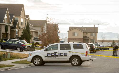 Rick Egan  |  The Salt Lake Tribune  Police investigate a fatal accidental shooting in the 1900 block of Cooper Street in Kaysville, Sunday, November 23, 2014.