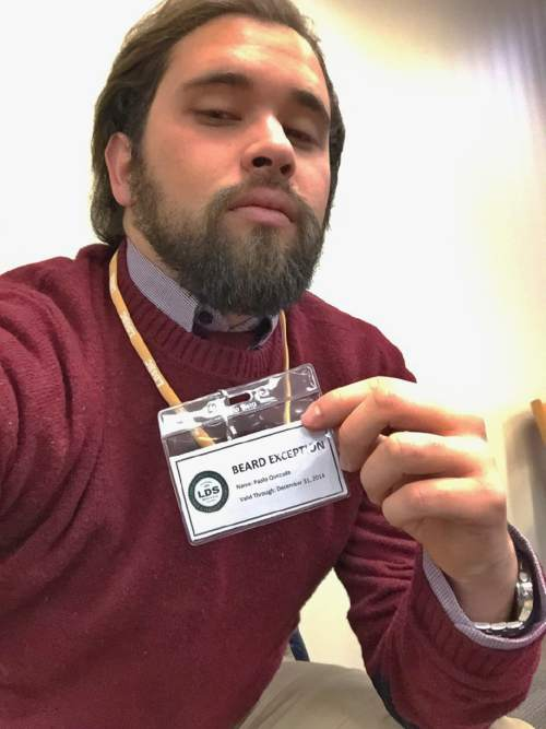 "Paolo Quezada, a student at LDS Business College, was briefly required to wear what he called a ""beard badge of shame"" last week.   Courtesy photo"