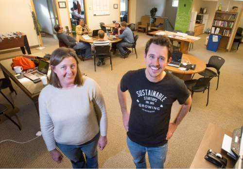 Steve Griffin  |  The Salt Lake Tribune Amy Mills and Ian Shelledy with Sustainable Startups, a nonprofit incubator that directs advice, mentoring and support services to entrepreneurs hoping to launch sustainable business ideas in Utah.