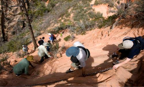 Al Hartmann  |  The Salt Lake Tribune  Hikers carefully pick their way down the Angel's Landing Trail in Zion National Park.    It's one of the premier hikes in the park which takes the hiker up and a steep rock spine that climbs to a magnificent view of the Virgin River and Zion Canyon below.  The hikes is not for those with fear of heights.  An anchor chain is embedded in the rock in steep places along the trail that hikers can grab onto for safety.