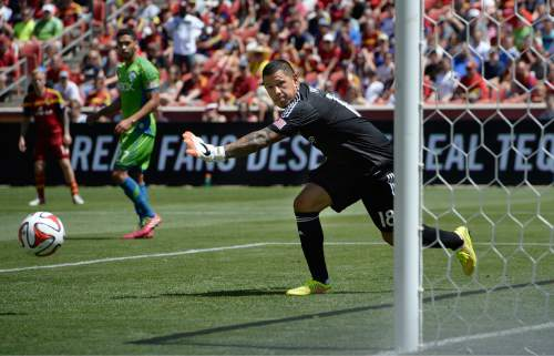 Scott Sommerdorf      The Salt Lake Tribune RSL GK Nick Rimando watches a shot goes wide during first half play. RSL defeated the Seattle Sounders 2-1 at Rio Tinto Stadium, Saturday, August 15, 2014.