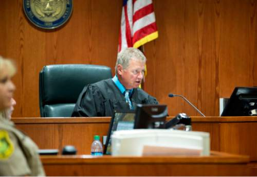 2nd District Judge David Hamilton speaks during Aza Ray Vidinhar's  plea deal during 2nd District Court at the Davis Justice Complex in Farmington on Wednesday, June 18, 2014.  Vidinhar, 16, plead guilty to two counts of murder in the May 22, 2013, deaths of his brothers Alex Vidinhar, 10, and Benjie Vidinhar, 4, in their West Point home.  Vidinhar will serve time in both juvenile detention and adult prison.