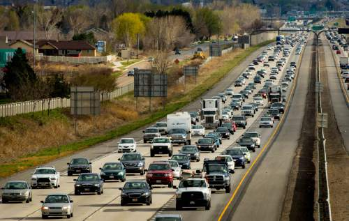 Trent Nelson  |  Tribune file photo Rush hour traffic northbound on I-15 in Farmington. A new study says the average Salt Lake-area commuter last year experienced 37 hours of congestion-caused delay and had related expenses (fuel and time) of $1,059.