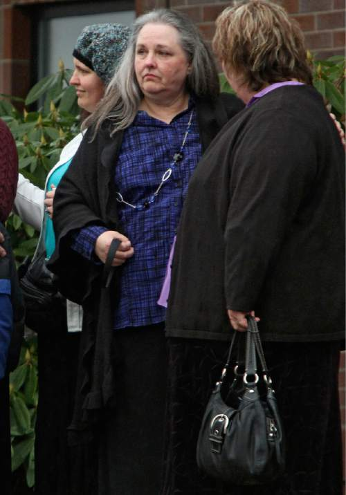 Rick Egan | The Salt Lake Tribune  Terrica Powell, mother of Josh Powell, after funeral for her grandsons, Charlie and Braden Powell, Saturday, Feb. 11, 2012, in Puyallup, Wash.