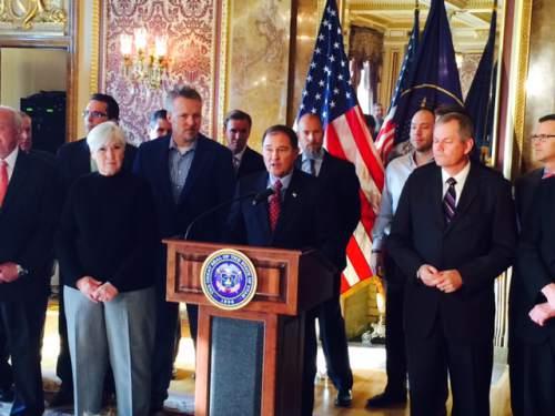 Steve Griffin  |  The Salt Lake Tribune Utah Gov. Gary Herbert talks during a news conference Dec. 4, 2014.