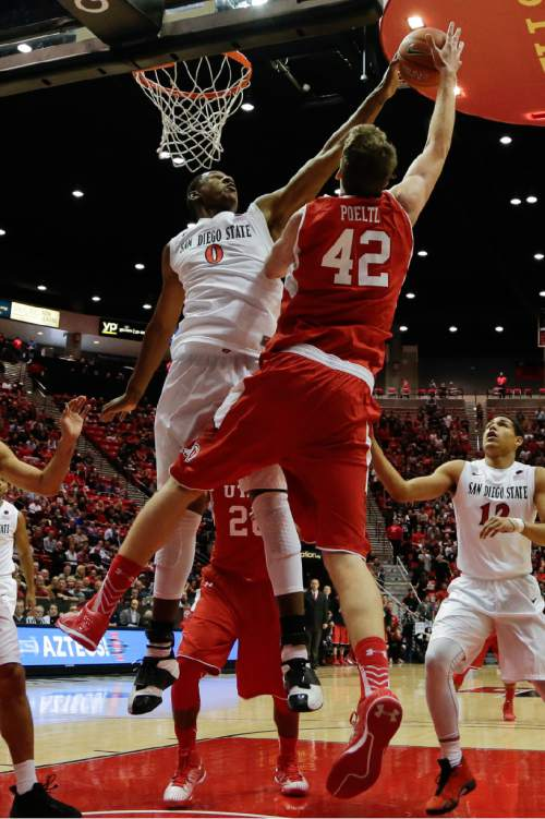 San Diego State forward Skylar Spencer (0) blocks a shot by Utah forward Jakob Poeltl during the first half of an NCAA college basketball game Tuesday, Nov. 18, 2014, in San Diego. (AP Photo/Gregory Bull)