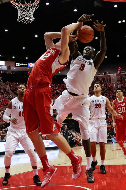 Utah forward Jakob Poeltl is fouled by San Diego State forward Angelo Chol (3) during the first half in an NCAA college basketball game Tuesday, Nov. 18, 2014, in San Diego. (AP Photo/Gregory Bull)