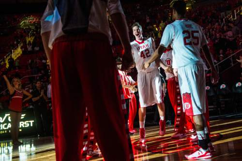 Chris Detrick  |  The Salt Lake Tribune Utah Utes forward Jakob Poeltl (42) is introduced during the game at the Huntsman Center Thursday November 6, 2014.