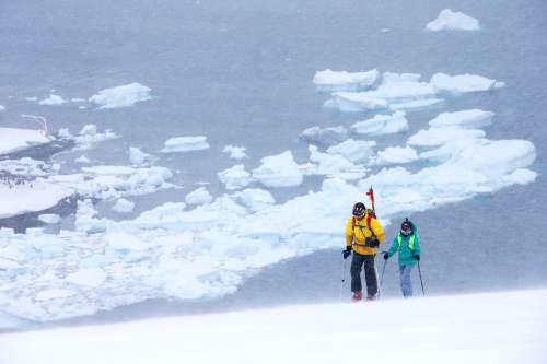 Lilliana and Mike Libecki of Salt Lake City ski in Antarctica during a trip in November.   photos courtesy Mike Schirf