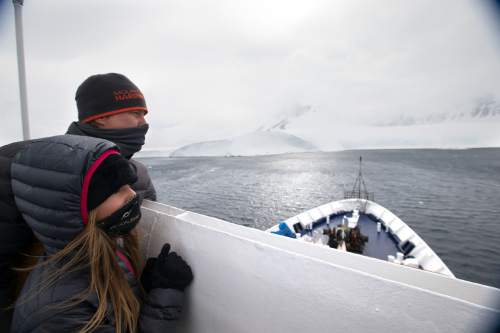 Mike Libecki and his daughter Lilliana, 11, scope out possible ski terrain from a boat while visiting Antarctica in November. The Libeckis live in Salt Lake. photos courtesy Mike Schirf