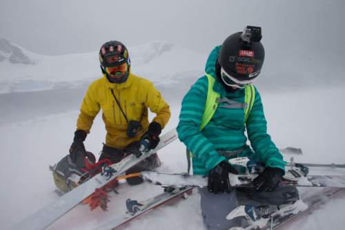 Mike Libecki and his daughter Lilliana, 11, prepare to ski in tough conditions in Antarctica during a trip in November. photos courtesy Mike Schirf