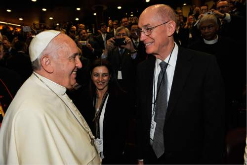 (Courtesy of the LDS Church) At a conference on marriage at the Vatican on Monday, Nov. 17, 2014, Pope Francis greeted religious leaders from around the world including Henry B. Eyring of the LDS Church's First Presidency.