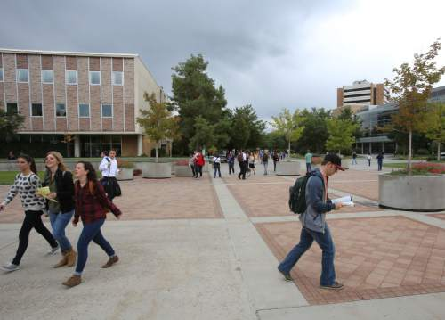 Francisco Kjolseth  |  Tribune file photo Students stroll across BYU's campus in Provo.