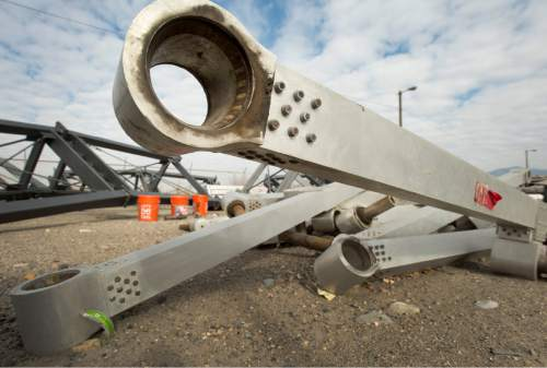 Rick Egan  |  The Salt Lake Tribune  The Hoberman Arch, one of the symbols of the 2002 Winter Games, sits among the weeds in Salt Lake City's impound lot, Wednesday, November 12, 2014