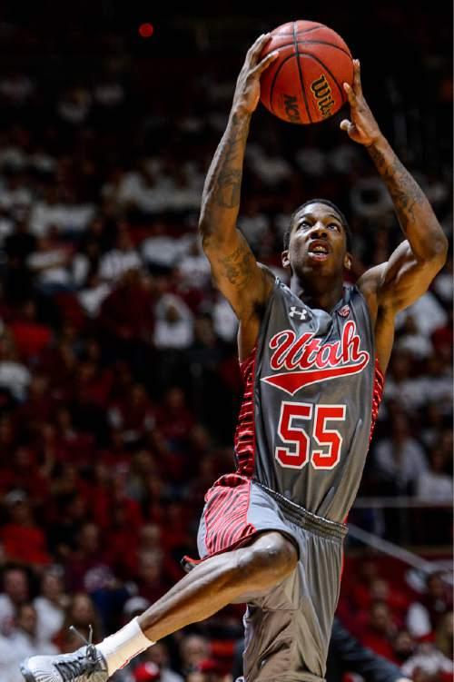 Trent Nelson  |  The Salt Lake Tribune Utah Utes guard Delon Wright (55) shoots the ball as the University of Utah Utes host the Wichita State Shockers, college basketball at the Huntsman Center in Salt Lake City, Wednesday December 3, 2014.