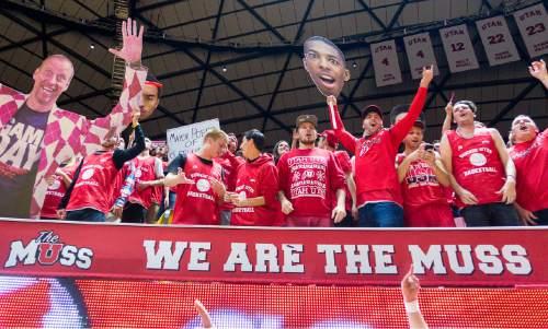 Trent Nelson  |  The Salt Lake Tribune Utah fans cheer on their team as the University of Utah Utes host the Wichita State Shockers, college basketball at the Huntsman Center in Salt Lake City, Wednesday December 3, 2014.