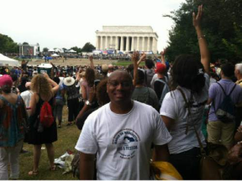 |  Courtesy Kevin Mosley  Mormon convert Kevin Mosley, at the 50th anniversary commemoration of the March on Washington for Jobs and Freedom. om Aug 28, 2013. Mosley says the LDS gospel should be used to fight racism.