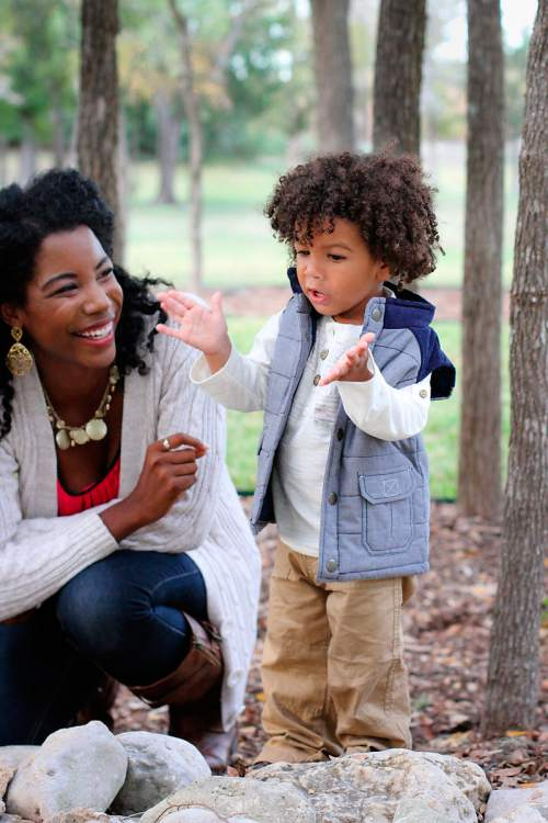 |  Courtesy Jennifer Borget Jennifer Borget, a Mormon convert who writes about parenting issues, with her son, Tyree, who is 18 months. Borget says people need to talk about race even though the topic can be difficult.