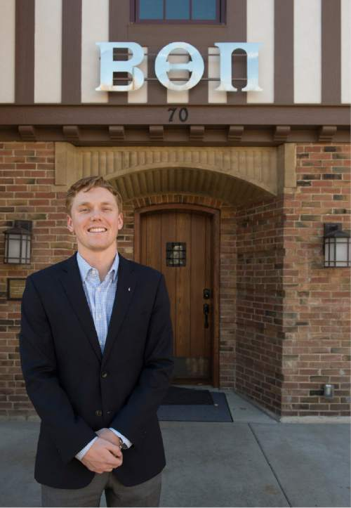 Rick Egan  |  The Salt Lake Tribune  Mitchell Cox, chapter president of Beta Theta Pi at the University of Utah. The U. chapter has won praise from the Rape Recovery Center for its efforts to prevent rape on campus.  Wednesday, November 26, 2014