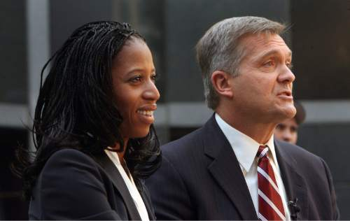 Steve Griffin | Tribune file photo  Republican Mia Love and Democrat Jim Matheson answer questions -- and exchange jabs --  during a debate hosted by KUTV on Salt Lake City's Main street during the 2012 election.