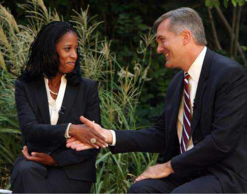 Steve Griffin | Tribune file photo  GOP candidate Mia Love and Democratic Rep. Jim Matheson shake hands during a debate in the 2012 race. The campaign was a fiercely fought, $10 million-plus battle that came down to 768 votes.