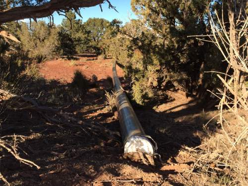 (Courtesy Dan Mayhew)  A gathering line is under construction in the Cane Creek oil field outside Moab, where Fidelity Exploration and Production Co. has been flaring vast amounts of natural gas that comes up with the oil. State regulators on Wednesday renewed permission for Fidelity to burn off excess gas after the company said it has taken much longer to get the pipeline permitted than anticipated.