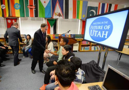 Steve Griffin     The Salt Lake Tribune  Gov. Gary Herbert shakes hands with students at Granite Park Jr. High following his announcement of his fiscal year 2016 budget proposal in Salt Lake City, Thursday, December 11, 2014.