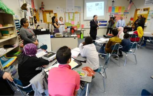 Steve Griffin     The Salt Lake Tribune  Students in Dayra Gaitan's ninth grade ESL class at Granite Park Jr. High School listen to Gov. Gary Herbert as he talks with the class following announcement of the fiscal year 2016 budget proposal in Salt Lake City, Thursday, December 11, 2014.