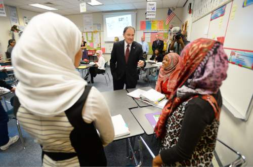 Steve Griffin     The Salt Lake Tribune  Students in Dayra Gaitan's ninth grade ESL class at Granite Park Jr. High School meet Gov. Gary Herbert as he talks with the class following announcement of the fiscal year 2016 budget proposal in Salt Lake City, Thursday, December 11, 2014.