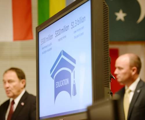 Steve Griffin     The Salt Lake Tribune  Gov. Gary Herbert will announces his fiscal year 2016 budget proposal at Granite Park Jr. High in Salt Lake City, Thursday, December 11, 2014.