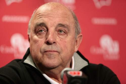 Wisconsin athletic director Barry Alvarez listens to a reporter's question during a news conference in the UW Field House media room near Camp Randall Stadium in Madison, Wis., Wednesday, Dec. 10, 2014. Head football coach Gary Andersen announced Wednesday he was leaving to become the coach at Oregon State.  (AP Photo/Wisconsin State Journal, M.P. King)