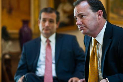 Chris Detrick  |  The Salt Lake Tribune Senator Ted Cruz, R-Texas, and Senator Mike Lee, R-Utah, speak during an interview in the home of Steve Harmsen Friday September 13, 2013.