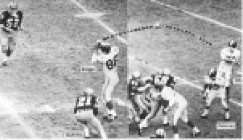 "Courtesy  |  Utah Athletics  In this photo composite, Ernest ""Pokey"" Allen completes a pass to Merlin Driggs as Ron Coleman stands ready to block and West Virginia's Richie Martha pursues Driggs in the 1964 Liberty Bowl at Atlantic City Convention Hall."