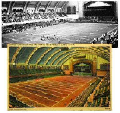 Courtesy  |  Utah Athletics  A postcard of Atlantic City Conventional Hall shows the plans for an indoor football field, complete with shortened end zones to account for seating at one end and the stage at the other.