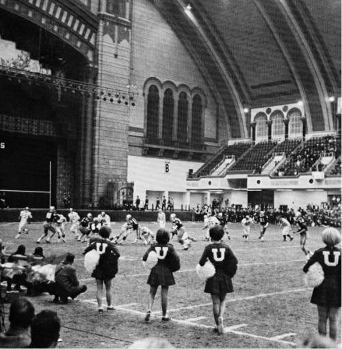 Courtesy  |  Utah Athletics  Utah's cheerleaders look on as the Utes wallop West Virginia, 32-6, at the 1964 Liberty Bowl in Atlantic City Convention Hall.