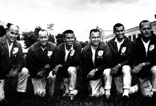 "Courtesy  |  Utah Athletics  From left to right, 1964 Utah football coaches ""Bullet"" Bob Watson, Pete Carlston, head coach Ray Nagel, Ned Alger, Gordy Lee and Lynn Stiles."