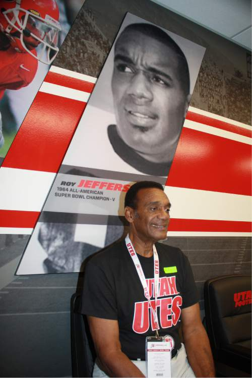 Courtesy  |  Ted Snoddy  Utah great Roy Jefferson, now and 50 years ago, at the Eccles Football Center during his visit for the 1964 Liberty Bowl team's Crimson Club Hall of Fame induction in early September.