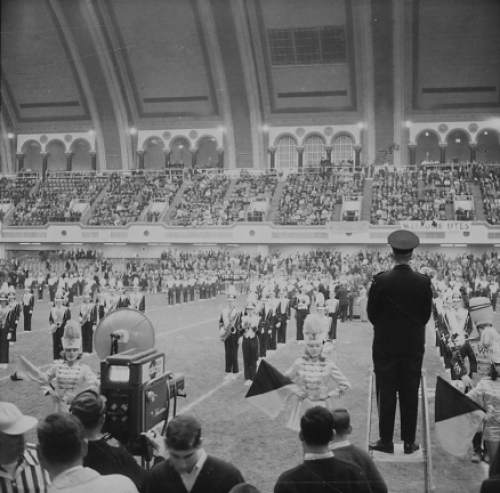 Courtesy  |  Utah Athletics  The band plays while ABC's cameras roll at the 1964 Liberty Bowl at Atlantic City Convention Hall on Dec. 19, 1964.