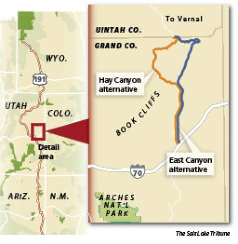 Vision for a 'National Park Highway'  Uinta Basin officials are pushing for a highway from Yellowstone to Petrified National Forest that could take tourists through scenic areas in Utah. But lacking is 45 miles of challenging and controversial pavement through Grand County.